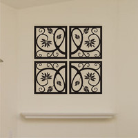 Vinyl Wall Decal Scrolled Square Motif 4 piece set