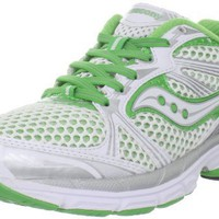 Saucony Women`s Guide 5 Running Shoe,White/Green/Silver,10 M US