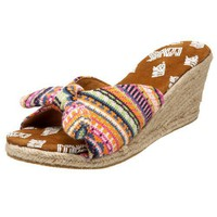 MUK LUKS Women`s  Sophia Tied Fairisle Open-Toe Wedge,Coral Fairisle,10 M US