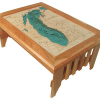 Lake Michigan Custom Lake Map Coffee Table