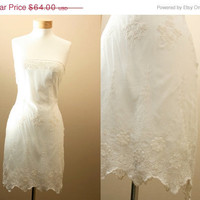 SALE End of Summer // Roaring 20's,  flapper Inspired, Strapless, White, Crochet, Lace, Statement, Dress