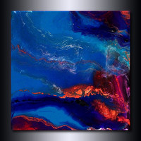 Blue Painting: Metallic Copper Jewel Toned Wall Art 6x6