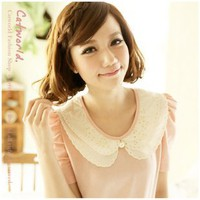 The embroidery wave level collar princess sleeves Cotton T-Shirt