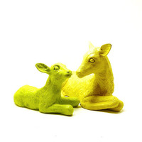 deer figurines, vintage, upcycled, neon, lime green, chartreuse, yellow, woodland, anthropologie, forest, fawn, doe, cabin decor, animals