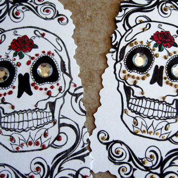 Dia De Los Muertos Day of the Dead Sugar Skulls Glitter Gift tags