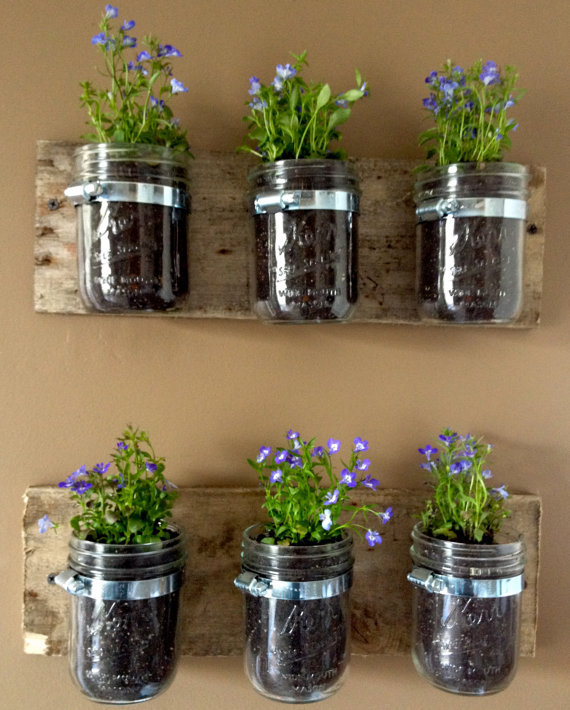 Mason Jar Wall Hanger Planter
