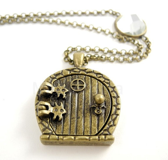 Fairy Wish Door Locket Miniature Necklace Antique Bronze on Brass Chain Hobbit Frodo Free Shipping Enchanting Romantic