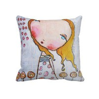 Whimsical Girl Art Throw Pillows from Zazzle.com