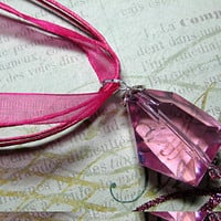 Pink Quartz, Swarovski Crystals &amp; Sterling Silver Pendant