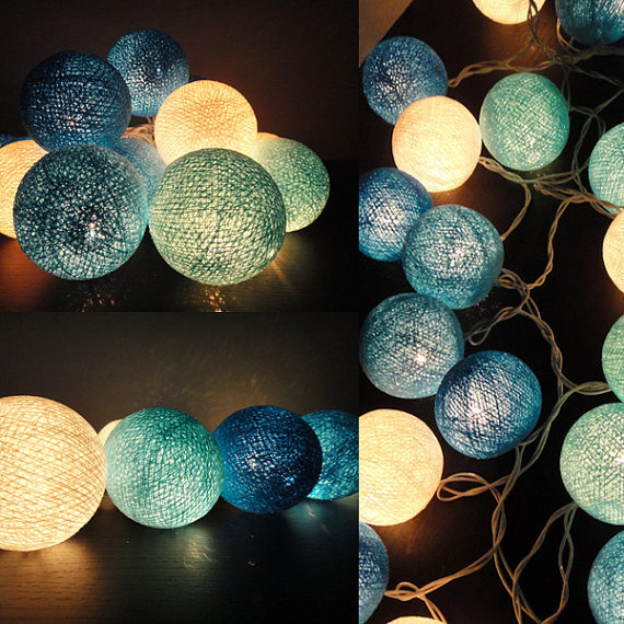 20 Mixed Blue Sky Tone Handmade Cotton Balls Fairy String Lights Home Decor