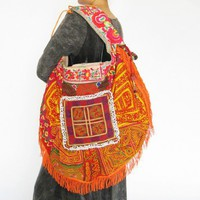 Bohemian Hippie look Handmade Women Oversize vintage tribal fabric
