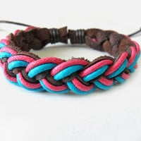 Jewelry bangle leather bracelet woven bracelet women bracelet girls bracelet made of hemp rope and leather woven bracelet cuff  SH-1657