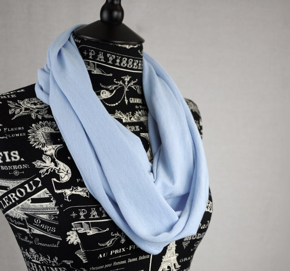 Jersey Infinity Scarf Light Blue Circle Lightweight Snood