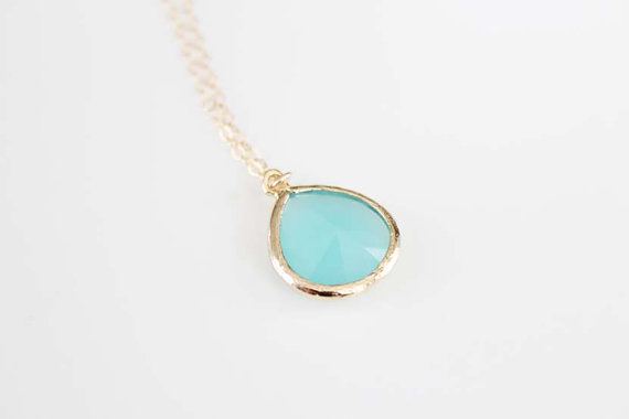 Gold Framed Glass Pendant Necklace - Mint Tea
