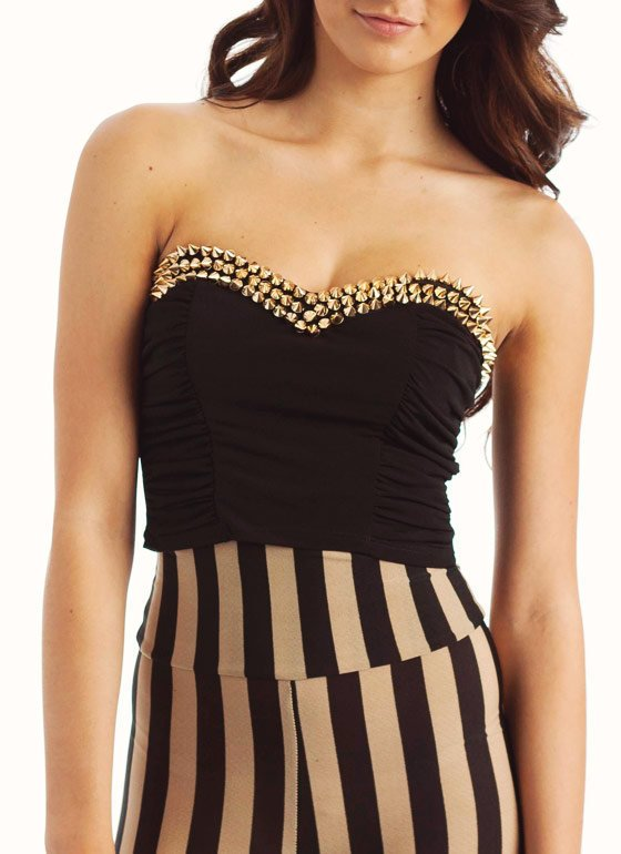 spike-embellished-strapless-crop-top BLACKGOLD - GoJane.com