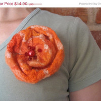SALE Felt Orange Rose Flower Brooch Pin, Nuno Felted Wool Silk