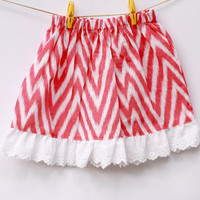 Chevron Pink Skirt for Girls/ Toddler girl