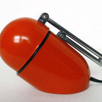 Retro Red Orange Modern Bullet Desk Lamp from the 60s 70s