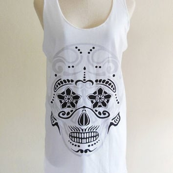 Skull Day of the Dead Zombie Skull Flower Skull Rose Goth Gothic -- Skull Design Women Tank Top Tunic Sleeveless Skull T-Shirt Size S , M