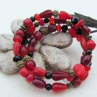 Chic red, black, and antique brass memory wire bracelet