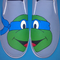 Hand Painted Ninja Turtles Vans Slip On Shoes