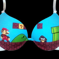 Handpainted Super Mario Bros. Bra