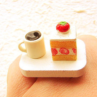 Coffee Ring Miniature Food Jewelry Strawberry Cake