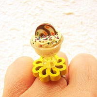 Miniature Food Ring Ice Cream Flower Yellow Miniature Food Jewelry
