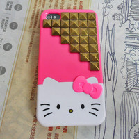 Hello kitty iPhone 4 4S hand case cover with bronze pyramid stud For iPhone 4 Case, iPhone 4s Case, iPhone 4 GS Case,iPhone hand case cover