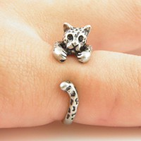 Silver Leopard Wrap Ring