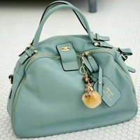 Vintage Style Sweet Blue Casual Leather Tote Bag.Chic Weekend Handbag