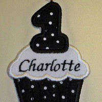 Birthday cupcake iron-on patch black with white polka dots handmade