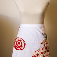 SALE - Charming Hand Embroidered Red and White Apron - Ready to ship