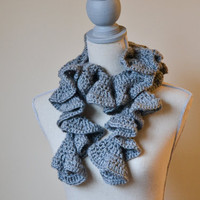 Gray Ruffle Crochet Scarf - Ready to Ship - FREE SHIPPING