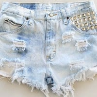 High Waist Distressed Denim Shorts(ALL SIZES)
