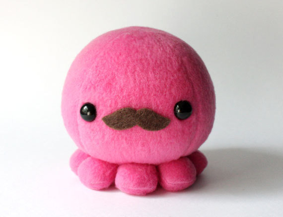 Pink Octopus Plush Toy with Moustache