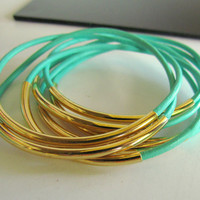 CIJ SALE- 7 MINT Leather Bangle Bracelets,Set Mint Green,Gold/Silver Beads, Women&#x27;s Thin Bangles,Set Stack Leather Bracelets, PapillonDaze