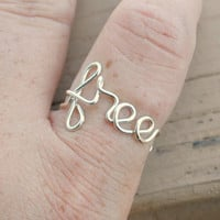Adjustable Wire Wrapped Word Ring FREE