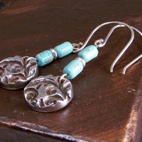 Round Pure Silver Pendant with Patina and Turquoise Bead Dangle Earrings