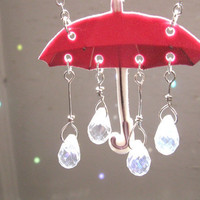 Summer Rain Showers Pink Umbrella Necklace with Crystal Raindrops Free Shipping
