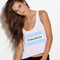 One Direction Shirt 1D White Crop Tank TOMS Flag-- Tomlinson