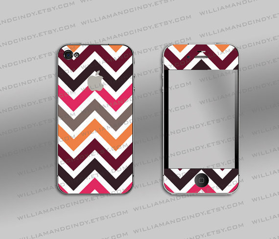 Iphone 4 cover - Chevron colour pattern