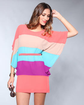 DJPremium.com - Women - Shop by Brand - DJP Boutique - Color Striped Flutter Dress w/ Tie