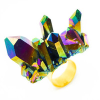 Titanium Quartz Rainbow Druzy Ring Aura Crystal Cluster - STUD SPIKE KNUCKLE Ring
