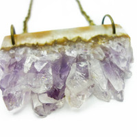 Druzy Amethyst Crystal Quartz Bar Slice Necklace n.44