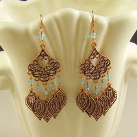 Copper Chandelier Earrings with Aqua Crystals
