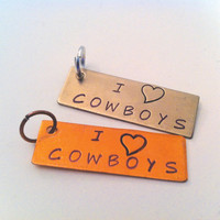 Inspirational Hand Stamped Word Charm Tag &quot;I LOVE COWBOYS&quot; - Your choice of Antique Nickel or Copper
