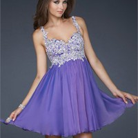 Knee Length With Beaded Bodice and Straps Prom Dress PD1915