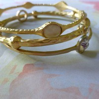 White and Crystal Bangle Set Gold 3