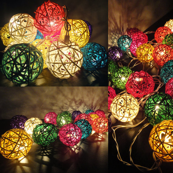 20 Mixed Multi Handmade Rattan Balls Fairy String Lights Party Wedding Patio